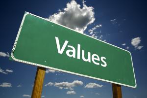 Values Green Road Sign