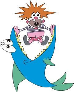 Big fish caught small clown. Color vector illustration.